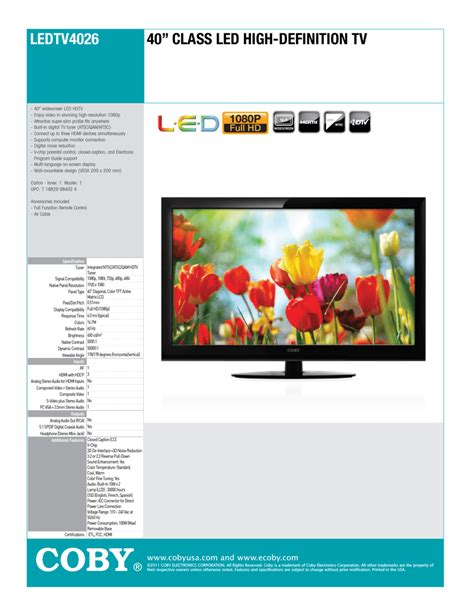 Coby LEDTV4026 LED TV Manualzz
