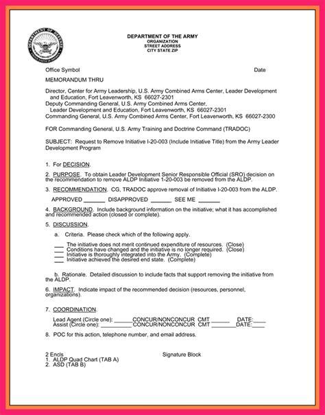 memorandum  record army bio letter format