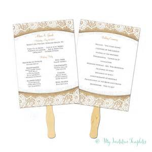 program fans for wedding burlap and lace rustic wedding program fan template