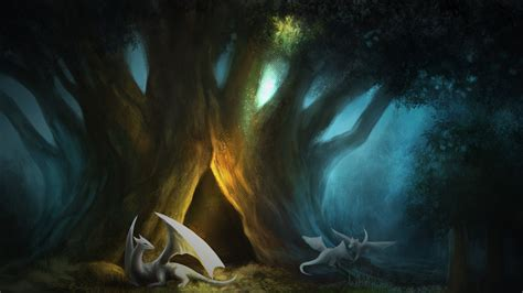 Digital Painting Wallpaper Hd by Paintings Trees Dragons Artwork Forest Wallpaper