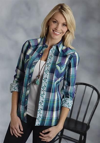 Plaid Shirt Western Turquoise Womens Roper Sleeve