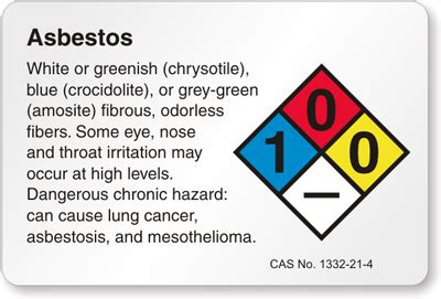 asbestos nfpa chemical hazard label sku lb