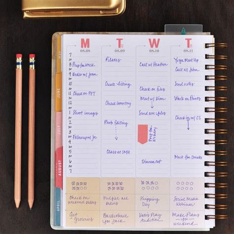 hard cover weekly planner  vertical layout inkwell