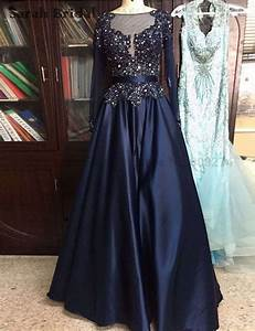 High Quality Crystal Long Prom Dresses Long Sleeves Plus ...