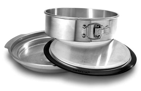 chefs planet perfect cheesecake springform pan  water bath basin  cutlery