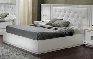 Lit krystel laque blanc for Chambre à coucher adulte moderne avec sur matelas