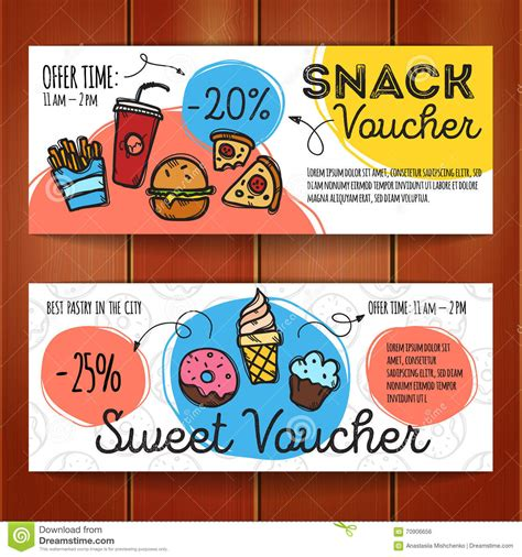 cuisine addict code promo discount voucher template with food flat design