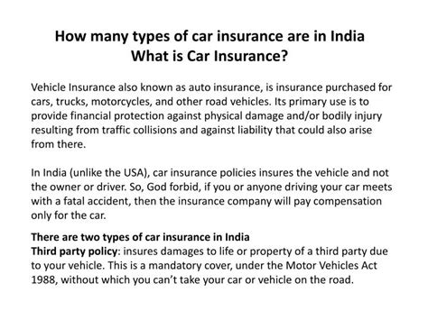 How Many Types Of Car Insurance Are In India What Is