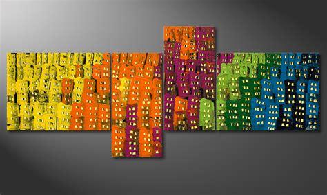 la peinture grand format town 240x100cm tableaux
