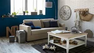 deco salon beige et bleu With tapis oriental avec canape bord de mer