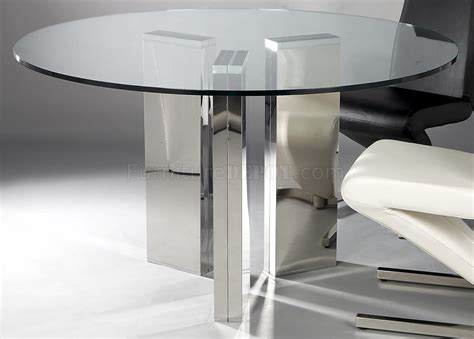 Round Tempered Glass Top Modern Dining Table wOptional Chairs