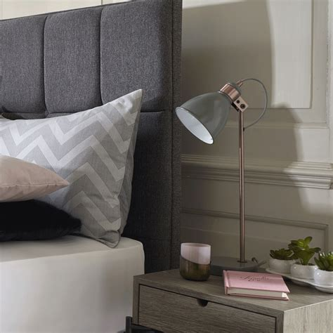 dar lighting frederick table l in gloss grey and copper