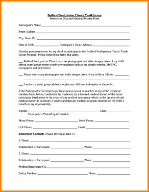 church youth group permission slip template simple