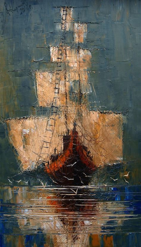 masterful textured oil paintings  ships  sea