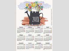 Calendario 2018 illustrato annuale o mensile da stampare