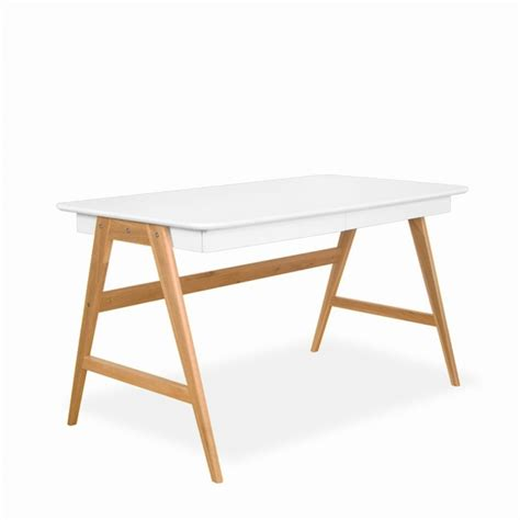 bureau design scandinave bureau laqué chêne blanc 120x70cm skoll look scandinave