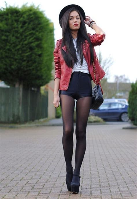 Shorts clothes platform shoes leather jacket shoes high waisted shorts black leather ...