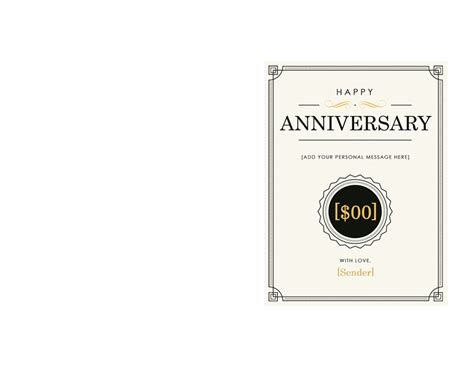 anniversary gift certificate template word