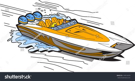 Fast Boat Vector by Illustration Fast Speedboat On Water Stock Vector