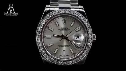 Rolex Diamond Bezel Silver Datejust Mens 41mm