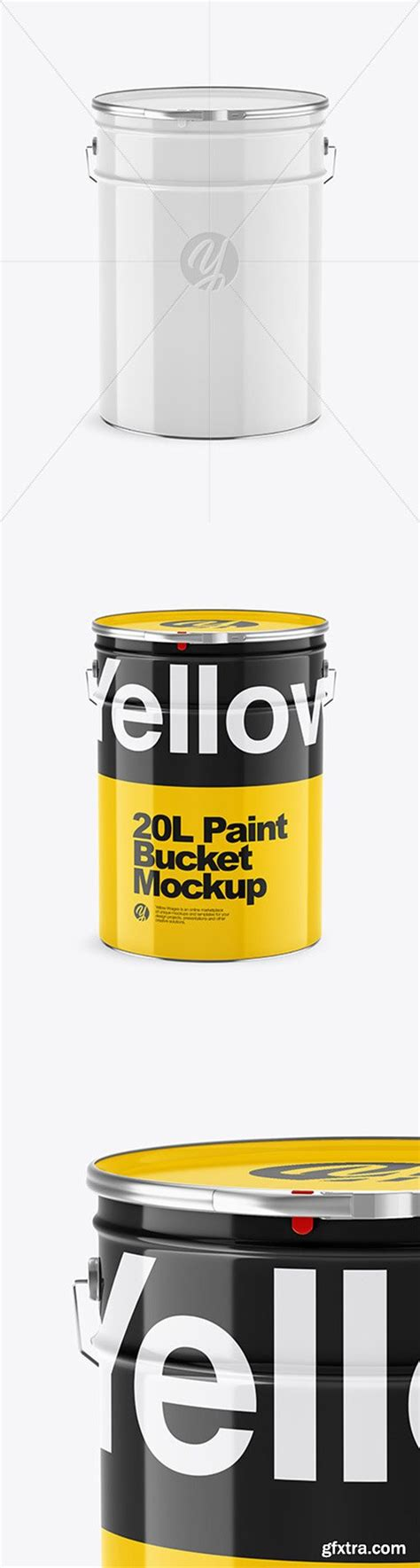 Take a glance how your design looks on this tin paint bucket. 20L Glossy Paint Bucket Mockup 65166 » GFxtra
