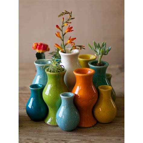 Teal Colored Vases by Kalalou Multi Colored Ceramic Vases Set Of 13 In 2019