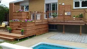 terrasse intime en bois traite deck possible casa With modele de terrasse en bois exterieur 4 ecran dintimite exterieur patio du nord