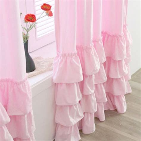 Pink Ruffle Curtain Topper by White Ruffle Curtain
