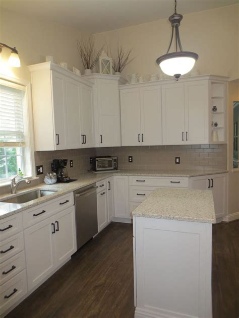 finished kitchen  marquis cabinets peppercorn white