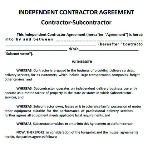 subcontractor agreement template  successful