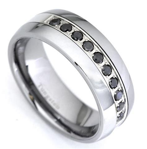 black diamond tungsten carbide wedding band ring