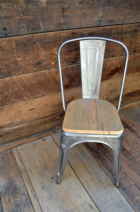 chaise metal bois custom reclaimed wood seat tolix style side chairs