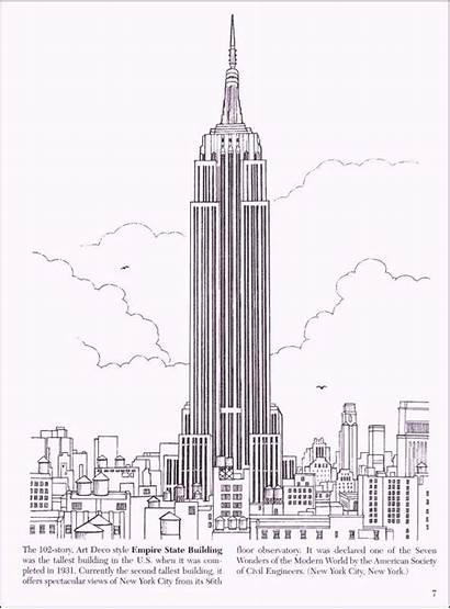 Coloring Building Pages York Empire State Drawing
