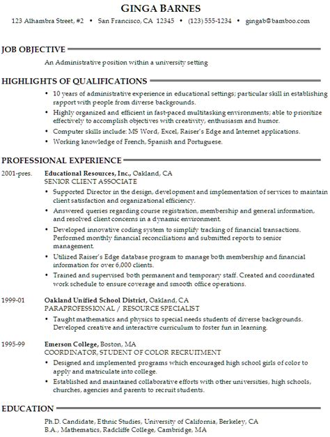 sample resume   seeking  administrative position   university setting