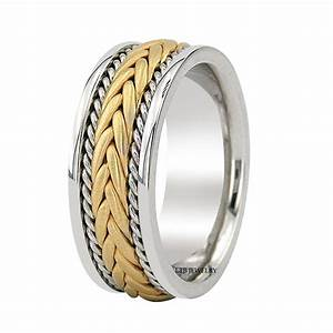 14K TWO TONE GOLD BRAIDED MENS WEDDING BANDSHANDMADE 8MM