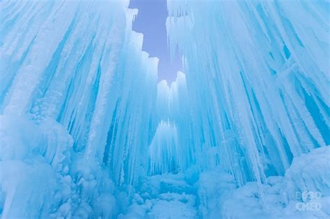 giant frozen ice castle  open  wintry gates  canada