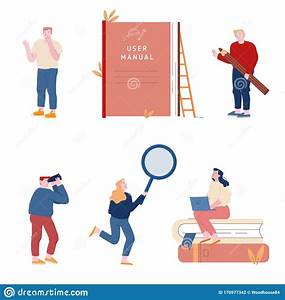 Set Of Men And Women Using Manual Guide Book  People With
