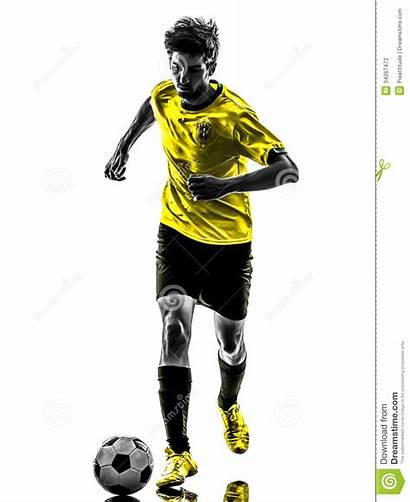 Football Soccer Player Running Brazilian Silhouette Young