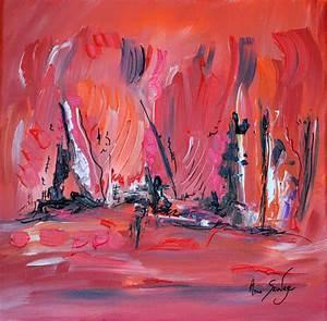 Peinture En Noir Et Blanc : peinture abstraite rouge noir blanc moderne au couteau ~ Melissatoandfro.com Idées de Décoration