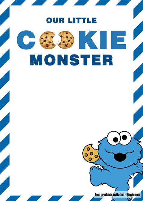 cookie monster birthday invitation templates bagvania