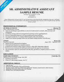 exle resume for administrative assistant senior administrative assistant resume resumecompanion