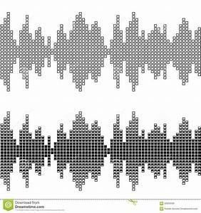 Black Square Sound Wave Patterns Stock Vector