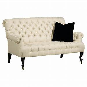 Ladim French Country Ivory Tufted Cabriole Settee Kathy