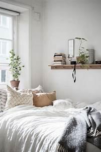 Cozy, Minimalist, Bedroom, Scandinavian, Interior, Plants, Minimalism, Patterned, Pillows