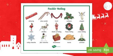 christmas words word mat gaeilge christmas gaeilge nollag focl 243 ir