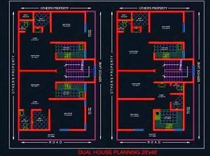 Dual House Planning Floor Layout Plan 20 U0026 39 X40 U0026 39  Dwg Drawing