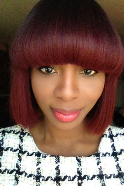 Red Hair Bangs Bob Pekelariley Black Women Hairstyles