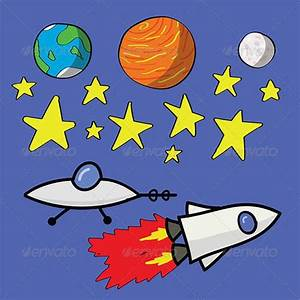 Space Elements #GraphicRiver Kid drawing of planets, stars ...