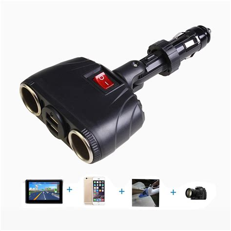 2 Car Charger by Dual Usb Car Charger Adapter Support Two Cigarette Lighter