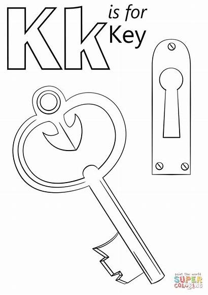 Coloring Key Letter Pages Keyboard Printable Crafts
